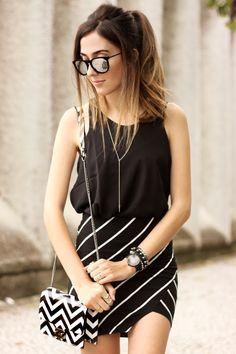FashionCoolture - 28.09.2015 look du jour Dafiti mix de estampas preto e branco…