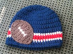 Crocheted Beanie New England Patriots Football Colors
