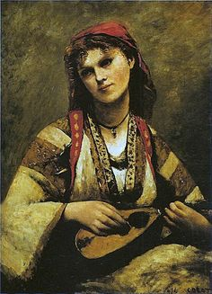 A Gypsy girl in red head piece and oversized garment, is playing a traditional musical instrument. Both of her head band and clothing in enduring fabric reflect the toughness and vigor of Bohemian people. The talent of singing and dancing indicates the romance of Bohemian people.