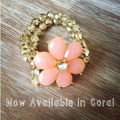 Shabby Chic Coral Flower With Gold Crystals by icravejewels, $28.00