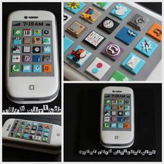 This white i-phone created for an birthday celebration featured hand cut icing apps - perfect for any smart phone fan! The cake it. Crazy Cakes, Fancy Cakes, Cute Cakes, Ipad Cake, Iphone Cake, 50th Cake, Hello Kitty Cake, Fondant Decorations, Dream Cake