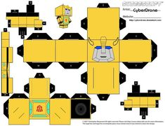My Custom Cubeecraft Cutout template for Transformer Bumblebee Idea for Cubee came from 'Toy-a-Day' Paper toys. I also have other Bumblebee Cubees. links below Bumblebee (Animated) Cubee Template B...