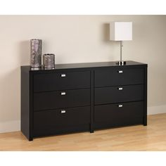 Prepac Series 9 Black Dresser at Lowe's. The black series 9 designer 6 drawer dresser has bold, thick tops and sides that will provide your bedroom with a high level of sophistication and style. Six Drawer Dresser, Wood Dresser, Double Dresser, Drawer Pulls, Dresser Ideas, Bedroom Dressers, Bedroom Furniture Sets, Bedroom Ideas, Furniture Storage