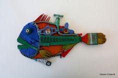 gérard collas, assemblages,poisson, sculpture