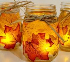 Fall mason jar crafts - 25 fall craft ideas using mason jars. Mason jar crafts for fall. Kids craft idea for fall. Fall decor using mason jars. Fall Mason Jars, Mason Jar Crafts, Mason Jar Diy, Mason Jar Thanksgiving Centerpieces, Mason Jar Candle Holders, Mason Jar Candles, Fall Candles, Diy Candles, Leaf Crafts