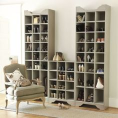 Sarah Storage Tower - Shoe and Boot | Ballard Designs. It comes in so many different sizes!