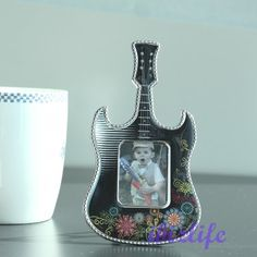 """Cute Lovely Mini Guitar Plastic Photo Picture Frame with opening 1-1/5"""" x 1-1/2""""   PF09  ... ♡❤♡❤♡ USE PHOTO FRAMES not only to KEEP the PHOTOs but also the MEMORABLE MOMENTs & LOVERS --- #love #photo #magnetic #freezer #Photoframes #Children #Kids #cat #dog #memorable #portable #family #Guitar #mini♡❤♡❤♡"""