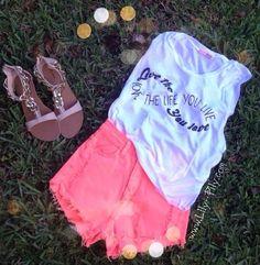 Teen fashion tumblr pink shorts wight top sandles love