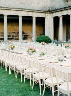 Portuguese Wedding In An Ancient Monastery via Magnolia Rouge Wedding Table, Wedding Blog, Portuguese Wedding, Outdoor Events, Outdoor Decor, Chiavari Chairs, Table Set Up, Magnolia, Outdoor Furniture Sets