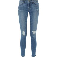 Frame Denim Le Skinny de Jeanne distressed mid-rise jeans found on Polyvore