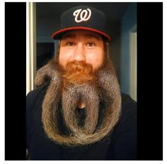 Washington Nationals fan Eric Brooks styled his beard to match the team's logo. Beard Designs, Hair Designs, Fun To Be One, How To Look Better, Eric Brooks, Crazy Beard, Beard Styles, Hair Styles, Awesome Beards