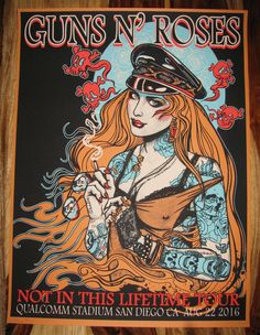 GUNS N' ROSES Not In This Lifetime Tour 2016 Qualcomm San Diego Orange Poster