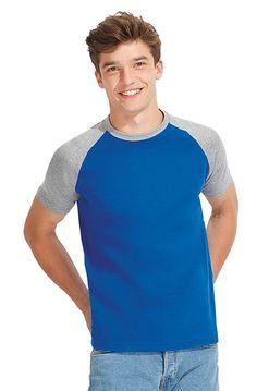 Heren t-shirt met korte raglan mouwen en ronde hals    - 100% halfgekamd katoen  - grammage: 150 g/m2  - contrast gekleurde raglan mouwen en halsboord  - zijnaad  - ook verkrijgbaar in een dames model  - de kleur Grey Melange bestaat uit 99% katoen en 1% viscose  - regular fit