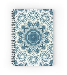 Creamy and blue mandala pattern by Sviatlana Kandybovich