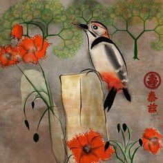 Woodpecker sumi-e