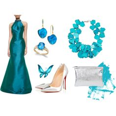 evening dress blue by wooxmen on Polyvore featuring мода, Theia, Christian Louboutin, Nest and Style & Co.