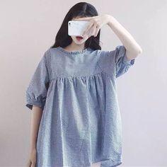 여학생이 치마를 드레스의 일본어 소프트 자매 여름 느슨한 나무 귀 인형 긴 섹션 하라주쿠 스타일의 격자 무늬 드레스