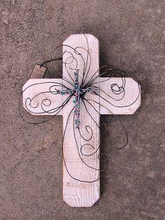White Wood Whimsy Cross by E Blome Designs (http://www.awhimsicalgarden.com/cross.asp)