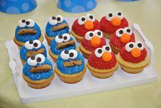 Cookie Monster Elmo cupcakes by ~megalbagel on deviantART