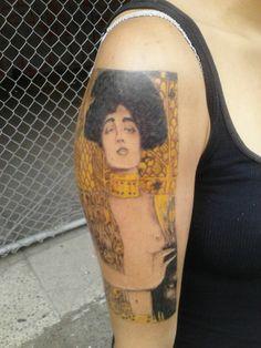 Phase one of my new tattoo of Gustav Klimt\'s Judith- the outline ...