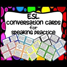 ESL Conversation Cards for Speaking Practice. 72 cards are colored coded by nine…