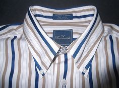 Faconnable Men's Blue w White & Tan Striped Cotton Dress Shirt France Sz Lrg