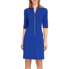 Tahari Front Zip Stretch Sheath Dress ($128) ❤ liked on Polyvore featuring dresses, petite, spring cobalt, half sleeve dress, stretchy dresses, stretch dress, petite sheath dress and blue dress