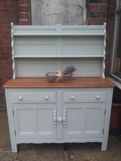 SHABBY CHIC HAND PAINTED VINTAGE ERCOL WELSH DRESSER SIDEBOARD GREY/BLUE