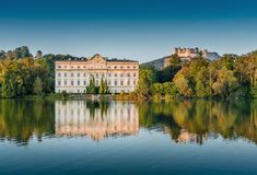 Schloss Leopoldskron with Hohensalzburg Fortress in Leopoldskron-Moos, Salzburg, Austria Sound Of Music Tour, Music Tours, Salzburg Austria, Austria Travel, Travel Europe, Beautiful Hotels, Beautiful Places, Medieval Castle, Filming Locations