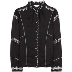 Isabel Marant, Étoile Delphine Embroidered Linen Shirt ($475) ❤ liked on Polyvore featuring tops, black, embroidered top, embroidery top, linen shirts, linen tops and embroidery shirts