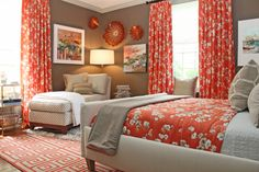Don't be safe on window treatments! They can make a major impact. Tying in a matching custom quilt completes a bedroom.
