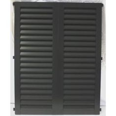 POMA 36 in. x 23.75 in. Black Colonial Louvered Hurricane Shutters Pair-8002-cdbl-002 at The Home Depot