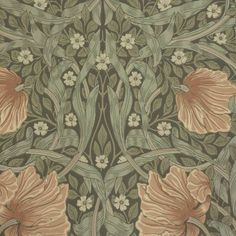 Pimpernel Wallpaper Bayleaf/Manilla - William Morris & Co Archive Wallpapers Collection William Morris Tapet, William Morris Wallpaper, Morris Wallpapers, Soft Colors, Colours, Designers Guild, Garden Crafts, Floral Motif, Icon Design