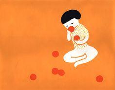 일본 일러스트레이터 Sato Kanae. 어린 시절을 떠올리며 그림을 그립니다. 작품 자체도 엄청 순수한 이미지가 있고 깔끔하고 심플합니다. 제일 마음데 드는건 활용하는 색. 사용하는 칼라 팔렛이 한정되어있지만 그 안에서 정말 잘 활용하는것 같아요.