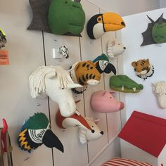 Retail Inspiration at Waiting on Martha POP UP Shop - Angelina Lopez Home Animal Head Decor, Animal Heads, Craft Stick Crafts, Felt Crafts, Art Wall Kids, Art For Kids, Nursery Bunting, Fabric Animals, Hobby Horse