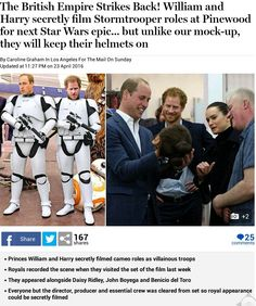 Prince William and Prince Harry secretly film Stormtrooper roles at Pinewood Studios for next Star Wars epic. but unlike our MOCK-UP they will keep their helmets on (so you won't know it's them! Prince William And Harry, Prince Harry, John Boyega, Princesa Diana, Save The Queen, Harry And Meghan, Queen Of Hearts, British Royals, Windsor