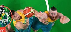 Andrew Bogut and Aron Baynes. © 2016 Getty Images