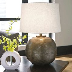Darva Metal Table Lamp   Antique Brass Finish   (Set Of   By Ashley  Furniture Signature Design