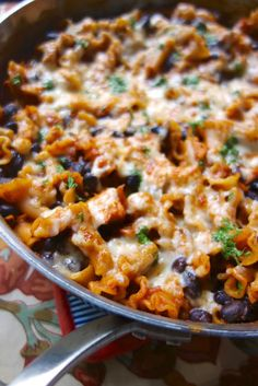 No-Boil Spicy Chicken Enchilada Skillet - everything cooks in the same skillet, even the pasta!