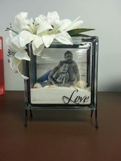 Glass picture block I made for my future sister in law at her bridal shower. Great idea as baby shower gifts too!
