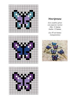 Mariposas butterflies hama perler beads pattern hair clip!