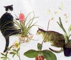 Elizabeth Blackadder Scottish painter and printmaker): Maurice Careme, Cat Plants, Blackadder, Plant Illustration, Art Festival, Animal Paintings, Cat Art, Female Art, Watercolor Art