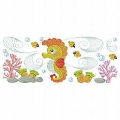 Jazz up your summer projects with these wonderful designs. Custom Embroidery, Embroidery Thread, Machine Embroidery Designs, Tropical Fish, Marine Life, Free Design, Turtle, Kids Rugs, Seahorses