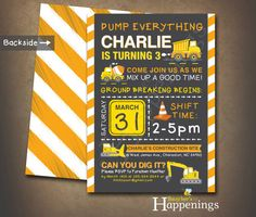 Hey, I found this really awesome Etsy listing at https://www.etsy.com/listing/242992247/construction-invitation-dump-truck