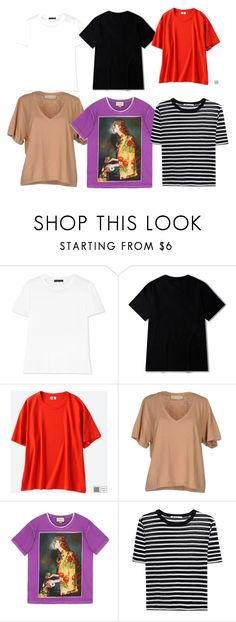 """Basic summer T shirts"" by mariana-baglai ❤ liked on Polyvore featuring The Row, Uniqlo, Soho de Luxe, Gucci and T By Alexander Wang"