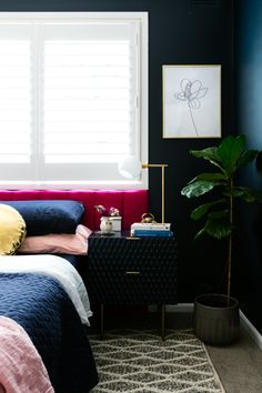 Room reveal: our master bedroom, take two! - The Interiors Addict Small Double Bedroom, Guest Room Paint, Bed Made From Pallets, Navy Master Bedroom, Bed Headboard Design, Wooden Partitions, Navy Walls, King Size Pillows, Couple Bedroom