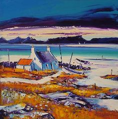 'Still Evening' by Jean Feeney (was born In York of Scottish~Welsh parents, Jean moved to Scotland in Lives in rural Perthshire). John Bellany, William Turnbull, Abstract Format, William Stewart, John Duncan, Scottish Islands, Palette Knife Painting, Bottle Painting, Watercolor Techniques