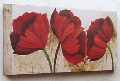 Academic Art, Flower Wallpaper, Pictures To Paint, Tree Art, Beautiful Paintings, Red Flowers, Flower Art, Landscape Paintings, Canvas Wall Art