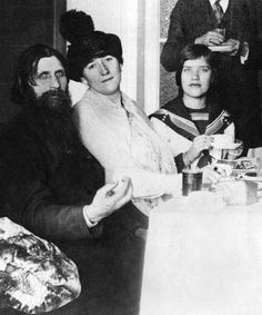 """On Sundays after Mass he would usually meet people in the house of some aristocratic admirer and talk to them."" Rasputin (left) and his daughter Maria (right) in 1914."