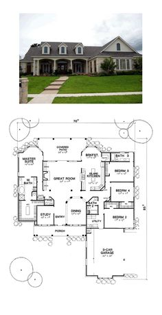 European House Plan 67403 | Total Living Area: 2990 sq. ft., 4 bedrooms and 3.5 bathrooms. #europeanhome